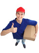 Delivery man showing thumbs up