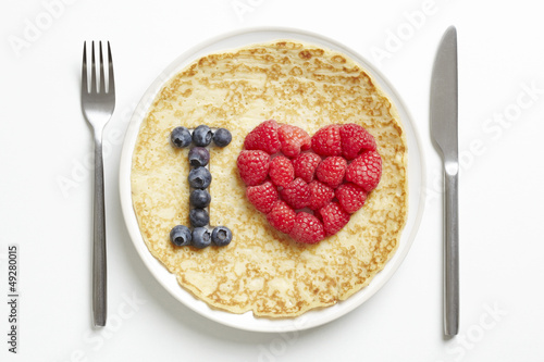 Pancake with love heart shape