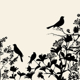 Floral Silhouettes Background Corner with Birds