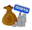 money bags college plan sign
