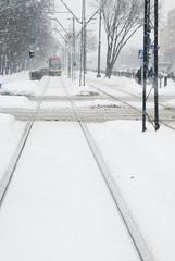 Approaching Tram in Heavy Snow.