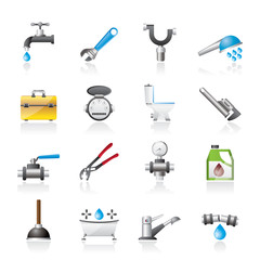 realistic plumbing objects and tools icons - vector icon set