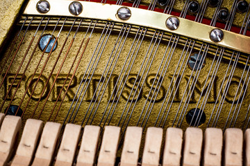 Fortissimo - Close Up Of Piano Strings and Frame