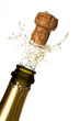 Close up of champagne cork popping