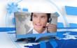 Digital speech box showing man in headset
