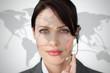 Portrait of smiling businesswoman wearing headset