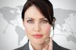 Portrait of businesswoman wearing headset