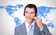 Smiling businessman using headset