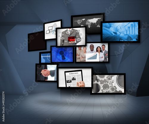 Many screens showing business images