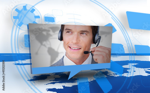 Digital speech box showing man in headset