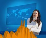Thoughtful businesswoman examining statistics