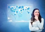 Businesswoman looking at digital futuristic interface