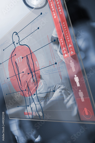 Red and transparent medical interface