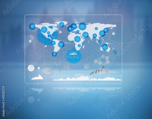 Futuristic screen with the world map