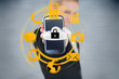 Businesswoman holding up locked smart phone with orange applicat