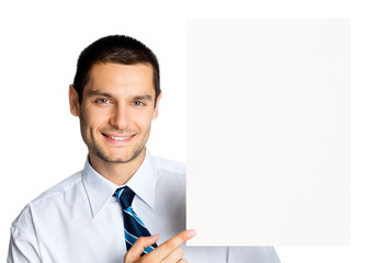 Happy businessman showing signboard, isolated