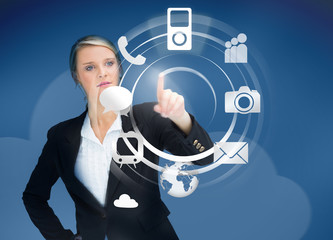 Businesswoman using wheel application interface