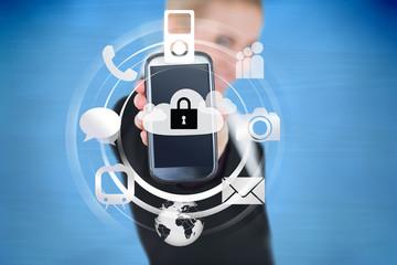 Businesswoman holding up locked smart phone