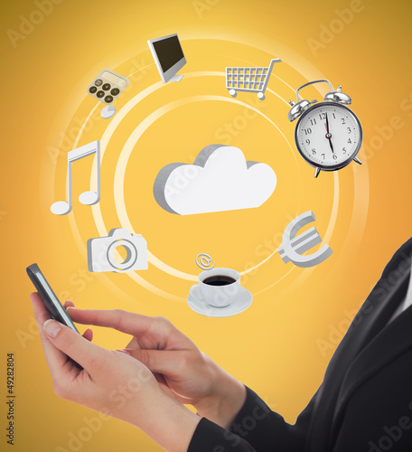 Businesswoman using various applications on mobile phone