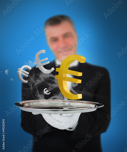 Waiter offering smoking euro symbols