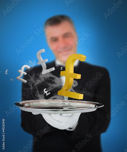 Waiter offering smoking pound symbols