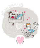 Vector Valentine Card with chatting Modern couple