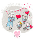 Vector Valentine Card with Teacher and kids
