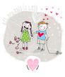 Cartoon Young Couple, Nasty Boy