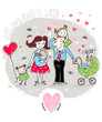 Vector Valentine Card with happy family
