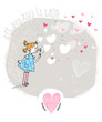 Vector Valentine Card with girl and bubble blower