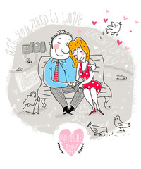 Valentine Card with couple on bench