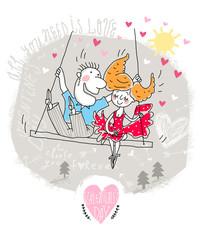 Valentine Card of Cartoon Couple on swing