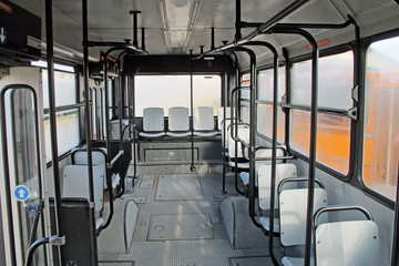 empty seats inside the bus for urban transport of persons
