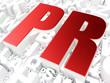 Advertising concept: PR on alphabet