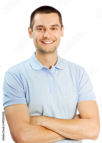 canvas print picture Cheerful young man, over white