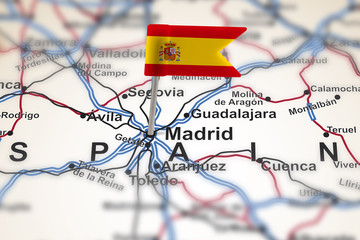 pin with flag of Spain in Madrid