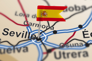 pin with flag of Spain in Seville