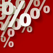 % Prozent weiss Rot Papier Ecke Hintrergrund