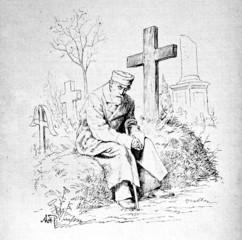 Alter Mann auf Grab (Historische Zeichnung)