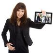 Junge hübsche Geschäftsfrau mit Tablet, Bild Leute