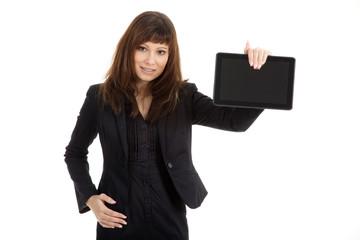 Junge hübsche Geschäftsfrau mit Tablet