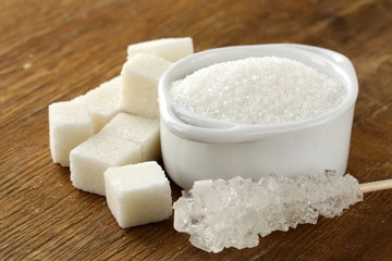Several types of white sugar  refined  and granulated sugar