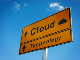 Cloud technology road sign.
