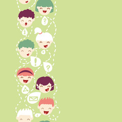 Vector people talking vertical seamless pattern background