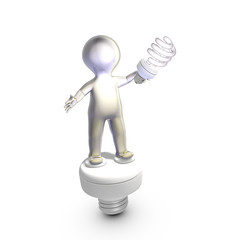A character showing an electroluminescent light bulb