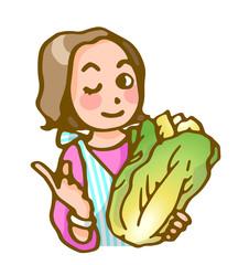 主婦と白菜