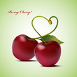 Cherry fruit, woven in the form of heart