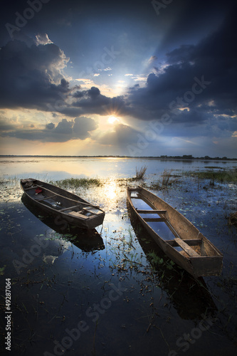 Boat with a beautiful sky