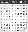 100 outline web icons vector EPS10