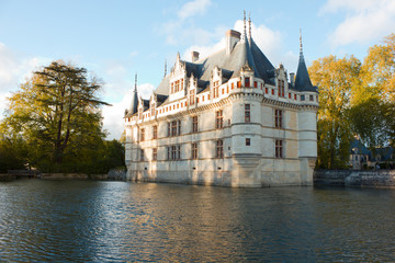 Chateau Azay-le-Rideau  (built 1527), Loire, France at sunset
